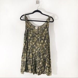Free People Black and Yellow Paisley Slip Size M